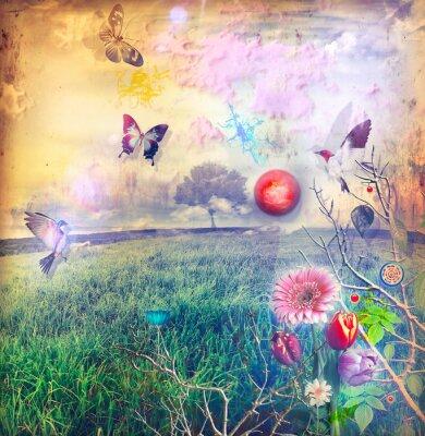Image Pays des merveilles aux fleurs colorées