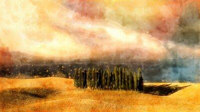 Image Paysage aquarelle toscane.