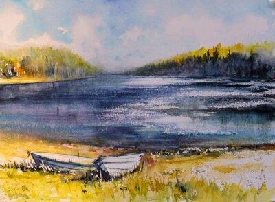 Image Paysage avec des bateaux de pêche sur la côte du lac. Image créée avec des aquarelles.