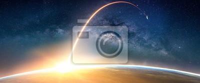 Image Paysage avec la voie lactée. Vue du lever du soleil et de la Terre depuis l'espace avec la Voie lactée. (Eléments de cette image fournis par la NASA)