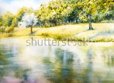 Image Paysage d'aquarelle. Parc d'été. La nature. Illustration botanique aquarelle. Paysage avec un lac. Côte