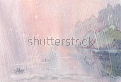 Image paysage d'aquarelle pluie du matin