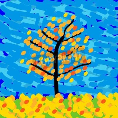 Image Paysage d'automne dans le style de l'impressionnisme. Illustration vectorielle.