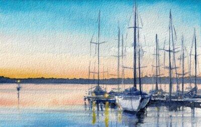 Image Paysage d'été avec des bateaux à voile dans la baie.