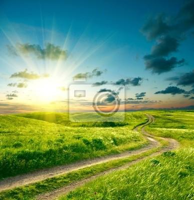 Image Paysage d'été avec l'herbe verte, la route et le ciel dramatique