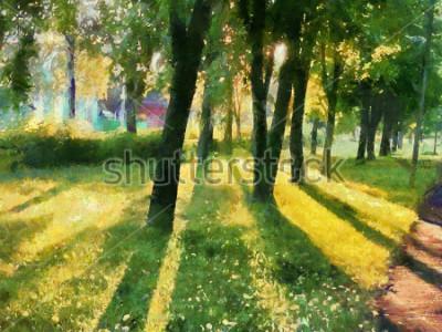 Image Paysage d'été. Les arbres dans le parc, une ombre sur l'herbe. Aquarelle. Pour l'impression sur céramique et tissu.