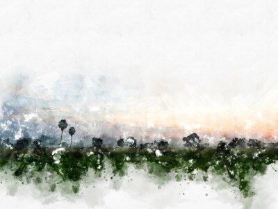 Image Paysage de champ coloré abstrait sur fond de peinture illustration aquarelle.