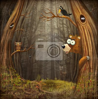 Paysage de forêt avec des animaux