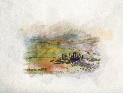 Image Paysage de la Toscane au lever du soleil à l'aquarelle.