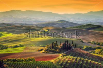 Image Paysage de la Toscane au lever du soleil. Typique pour la région ferme toscane, collines, vignoble. Italie