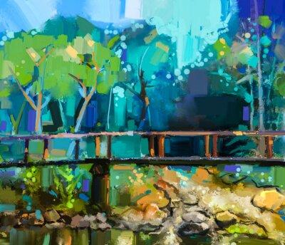Image Paysage de peinture à l'huile avec le pont en bois sur le ruisseau dans la forêt. Main, peint, coloré, Été, nature, forêt, jaune, vert-bleu, couleur