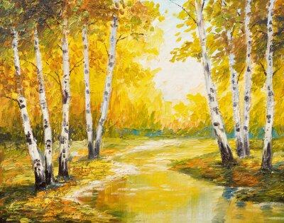Image Paysage de peinture à l'huile - forêt d'automne près de la rivière, feuilles d'orange