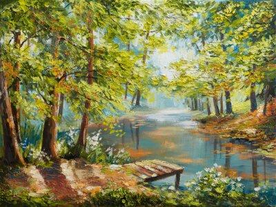 Image Paysage de peinture à l'huile - forêt d'automne près de la rivière, feuilles orange
