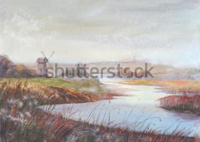 Image Paysage de peinture aquarelle. Moulin à vent de rivière et vieux. Illustration de dessinés à la main aquarelle.
