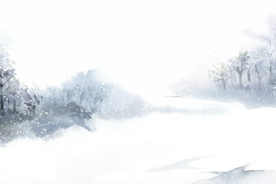 Image Paysage du pays des merveilles d'hiver peint par vecteur aquarelle