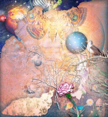 Image Paysage enchanté avec arbre embrassé, œillet et papillon