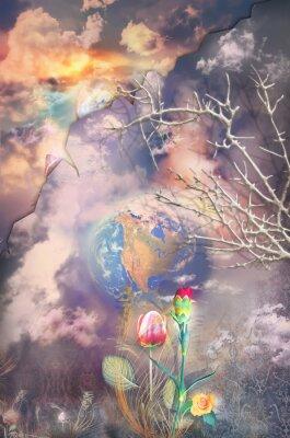 Image Paysage enchanté et fantastique avec des fleurs colorées série