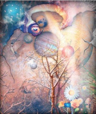 Image Paysage fantastique avec arbre embrumé