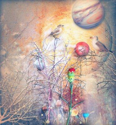 Image Paysage fantastique avec arbre embrumé, oiseaux et œillet rouge