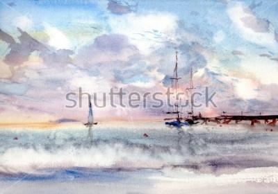 Image paysage marin de port d'aquarelle