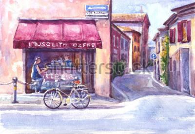 Image Paysage. Rue de la vieille ville. Italie. Croquis aquarelle.