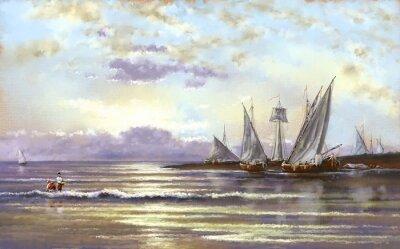 Image Paysages marins, pêcheurs, peintures numériques pétrolières