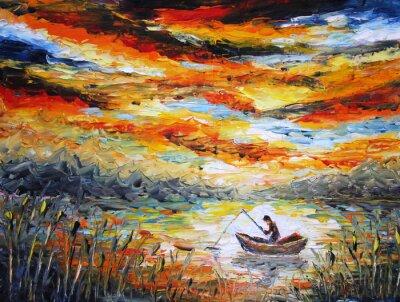 Image Pêche, nuages, rivière. coucher du soleil, la peinture. Spatule