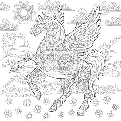 Pegasus Coloriage Cheval Aile Mythologique Grec Volant Idee Peintures Murales Tableaux Myloview Fr