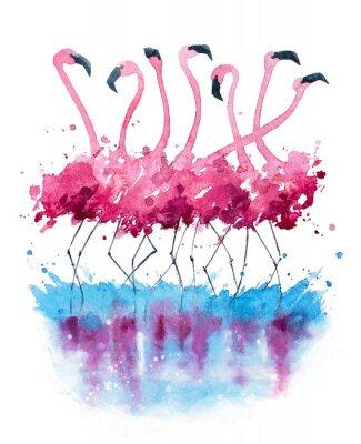 Image Peinture à l'aquarelle de flamants roses