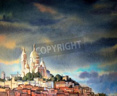 Image Peinture à l'aquarelle du Montmartre, dans la ville de Paris, France.