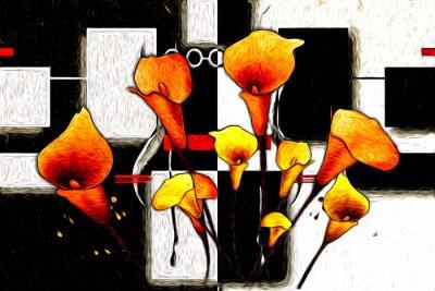Image Peinture à l'huile abstraite de fleurs
