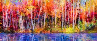Image Peinture à l'huile arbres colorés d'automne. Semi, résumé, image, forêt, tremble, arbres, jaune - rouge, feuille, Lac. Automne, automne, saison, nature, fond Peint à la main impressionniste, paysage e