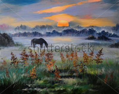 Image Peinture à l'huile au coucher du soleil