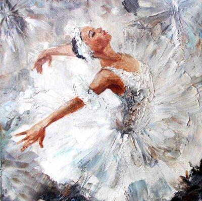 Image Peinture à l'huile, ballerine fille. Dessinée, mignon, ballerine, danse
