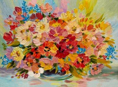Image Peinture à l'huile - bouquet coloré de fleurs d'été sur un fond abstrait
