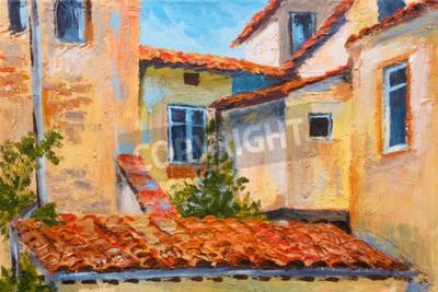 Image Peinture à l'huile colorée - toits de maisons, rue européenne, impressionnisme d'art