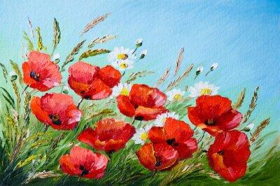 Image peinture à l'huile - coquelicots dans le champ