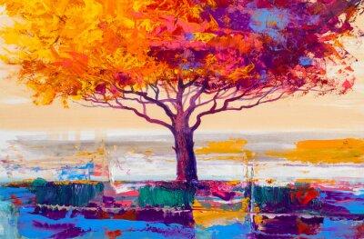 Image Peinture à l'huile d'arbre, fond artistique