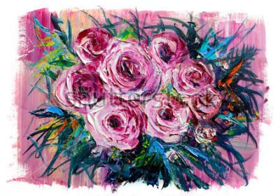 Image Peinture à l'huile d'un bouquet de roses. Style impressionniste.