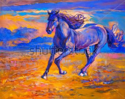 Image Peinture à l'huile d'un cheval qui court. Genre de moderne