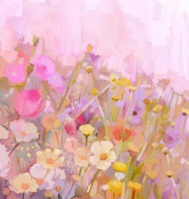 Image Peinture à l'huile de fleurs Champ, style doux couleur flou