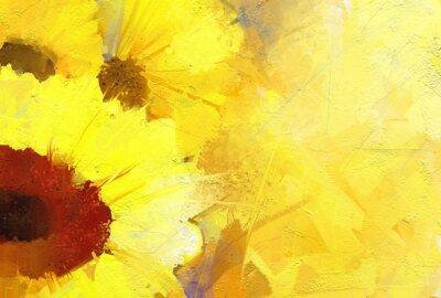 Image Peinture à l'huile de tournesol d'or de fond.