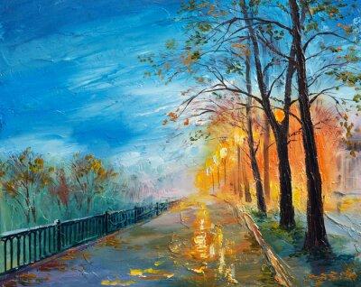 Image Peinture à l'huile du soir rue d'automne