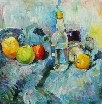 Image Peinture à l'huile. Encore, vie, bouteille, pommes, tissu, fond