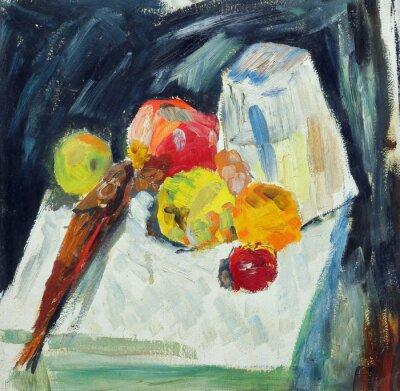 Image Peinture à l'huile. Encore, vie, fish, pommes, table