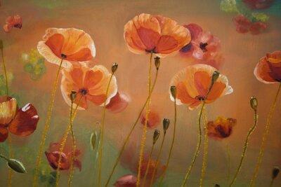 Image Peinture à l'huile fleurs de pavot rouge. Ressort, floral, nature, fond