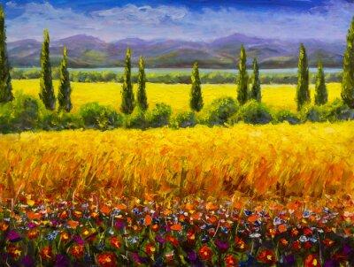 Image Peinture à l'huile italienne été paysage de Toscane, buissons de cyprès verts, champ jaune, fleurs rouges, montagnes et ciel bleu oeuvre image sur toile
