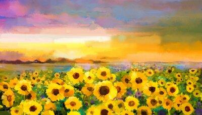 Image Peinture à l'huile jaune-doré Tournesol, fleurs de marguerite dans les champs. Coucher de soleil paysage de prairie avec fleurs sauvages, colline et le ciel en orange, fond violet bleu. Peinture à mai