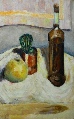 Image Peinture à l'huile nature morte avec cactus pomme bouteille d'alcool dans le style impressionniste Sur Toile