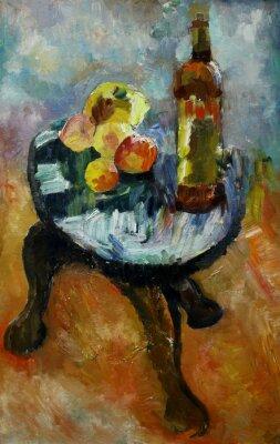 Image Peinture à l'huile nature morte avec sur une chaise pomme et pêches dans le style de l'impressionnisme en couleurs vives Sur Toile
